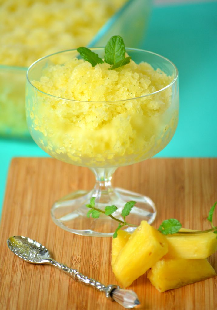Pineapple Mint Granita - 4 ingredients to a simple, refreshing dessert. Perfect to enjoy this summer. Tropical Fruits and Ice!