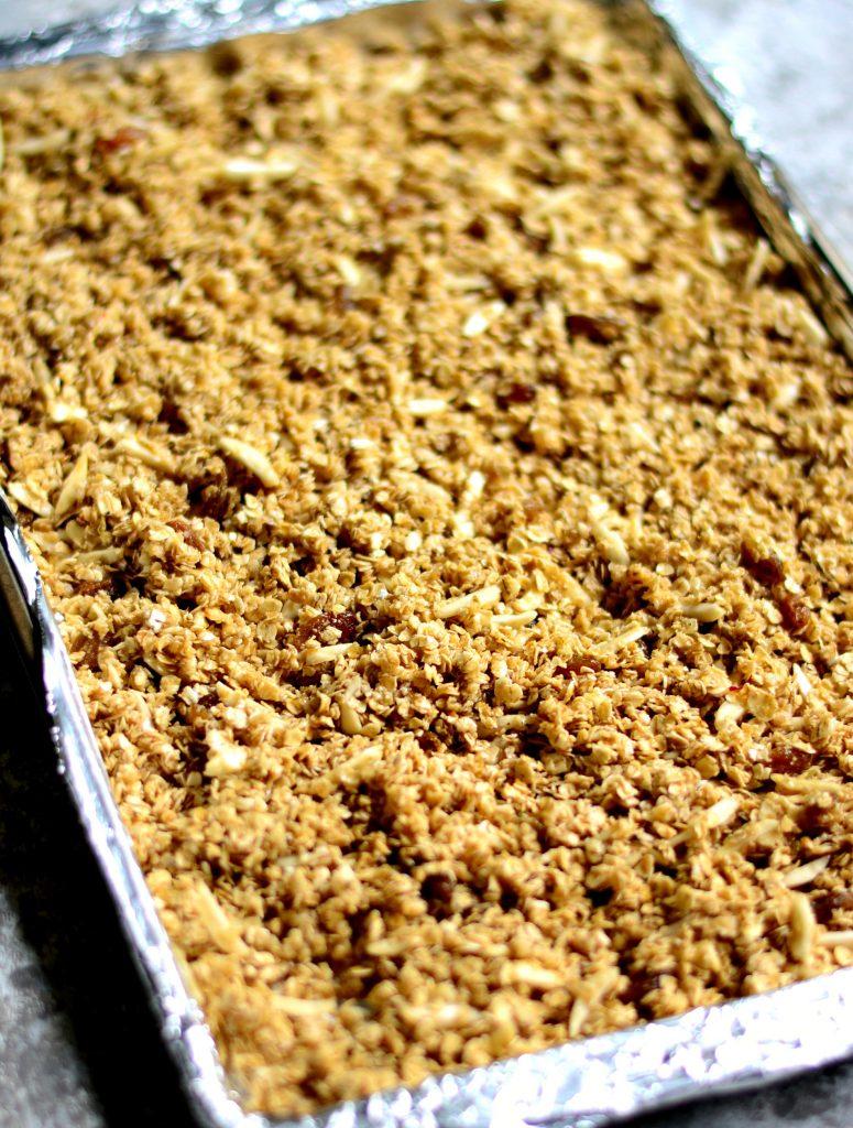 Saffron Almond granola prebake