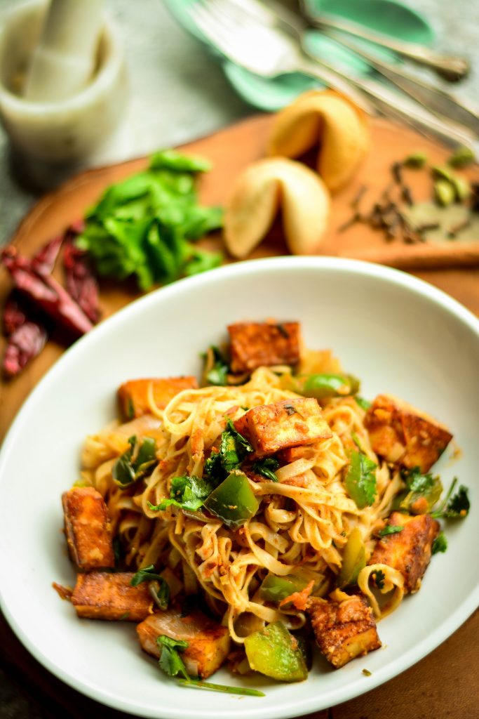 Paneer Curry Noodles - combines the comfort of curry with the simplicity of a stir-fry! Comes together in 30 minutes with very little effort.
