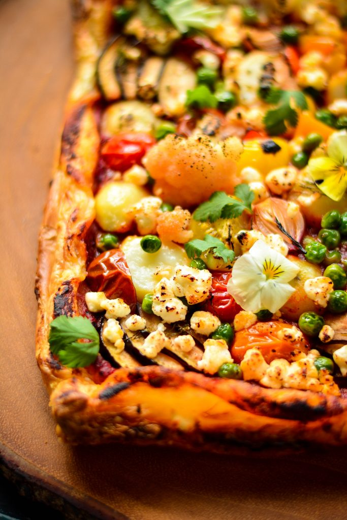 Savoury Veggie Puff Tart stocked full of vegetables, goat cheese and my special 5-min spicy marinara sauce!