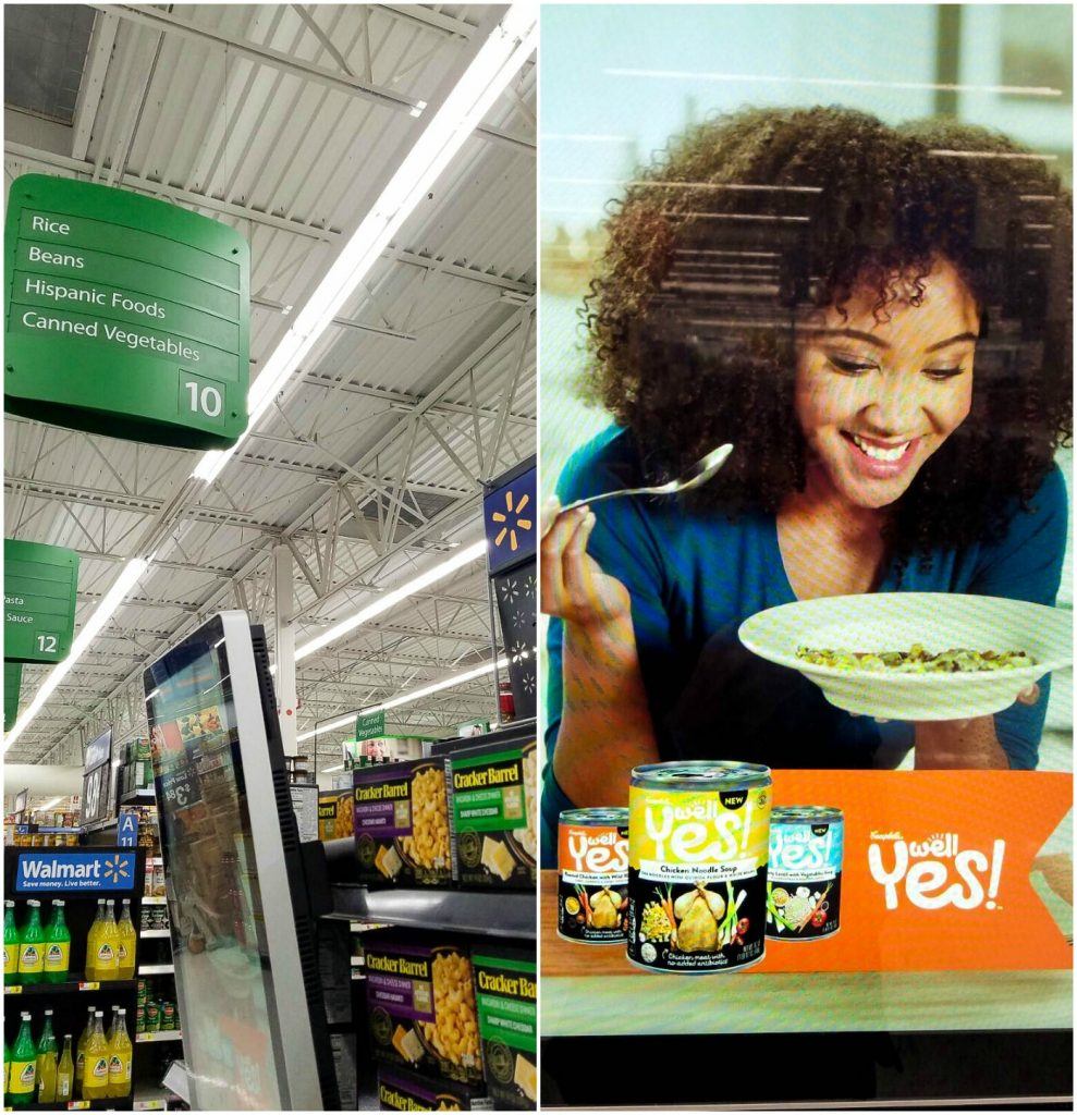Well Yes Soups Walmart aisle collage