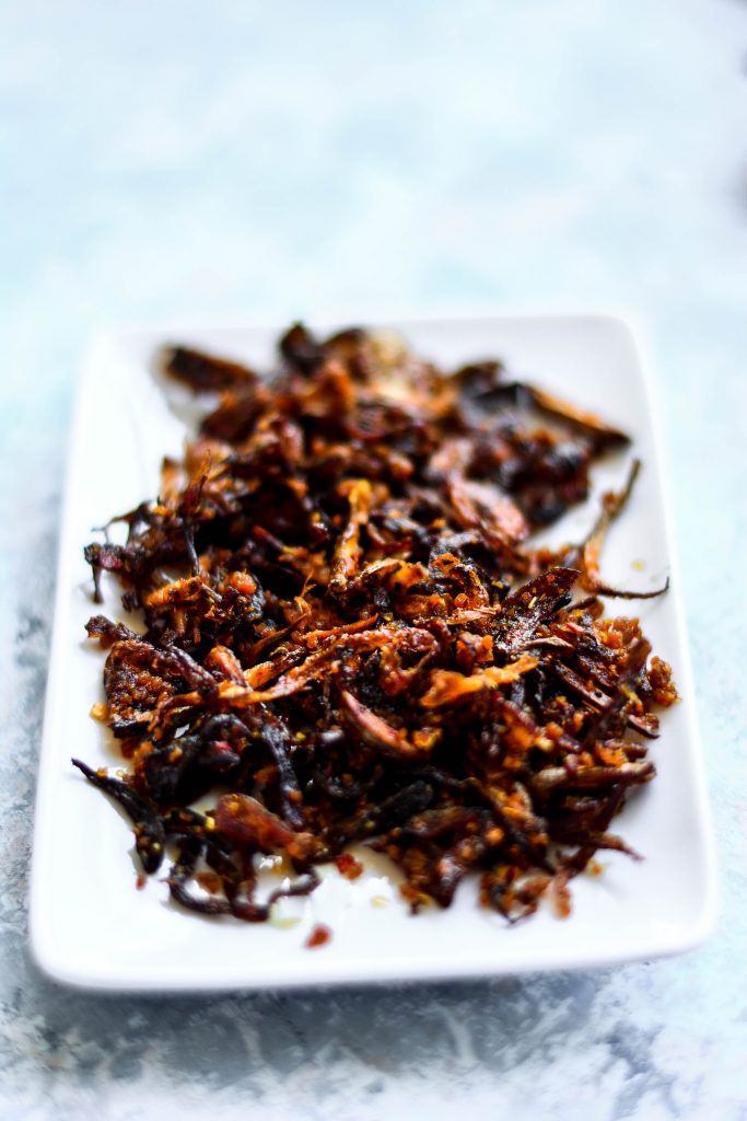 Burmese Balachaung is a condiment made with fried onions, shrimp, garlic, ginger & red chillies. Extremely delicious & keeps well for months!