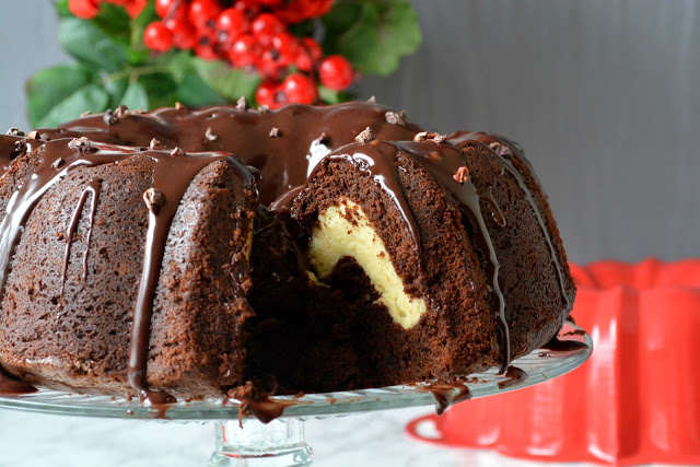 Cheesecake filled Chocolate cake - Love is in my Tummy
