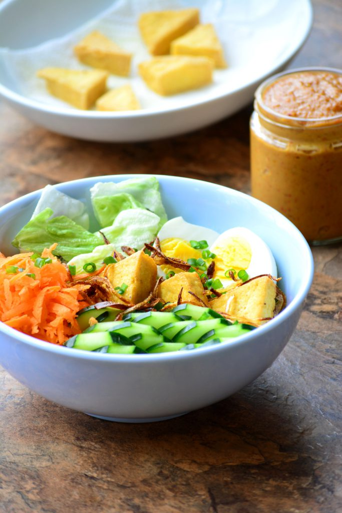 Try this delicious VEGAN + Gluten free Thai Tofu Salad ( Salad Kaeg) with a Spicy Peanut and coconut curry Dressing!
