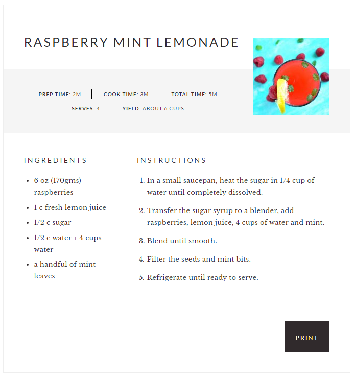 Printable Recipe Plugin